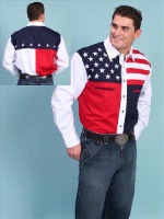 Scully Men's Vintage Western Shirt: The Patriot
