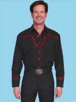 ZSold Scully Men's Vintage Western Shirt: Solid Black Barb Wire in Red SOLD
