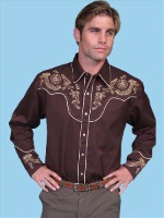 ZSold Scully Men's Vintage Western Shirt: Chocolate with Cream L SOLD
