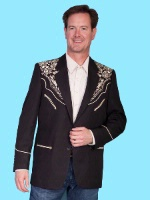 Scully Men's Jacket: Western Blazer Black w Gold Embroidery 42-48 Long