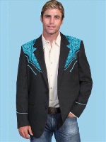 Scully Men's Jacket: Western Blazer Black w Turquoise Embroidery Regular and Big/Tall Sizes