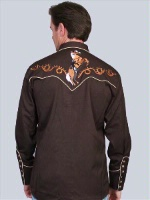 ZSold Scully Men's Vintage Western Shirt: Chocolate Palomino L, 3X SOLD