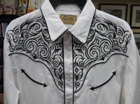 Scully Men's Vintage Western Shirt: Fancy Embroidery Scroll Black on White S-2X Big/Tall 3X-4X