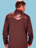 ZSold Scully Men's Vintage Western Shirt: Chocolate Bull Riders SOLD