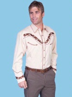 ZSold Scully Men's Vintage Western Shirt: Cream with Tan S-4X SOLD