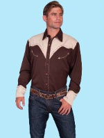 ZSold Scully Men's Vintage Western Shirt: Horseback Riders on Chocolate S-2X Big/Tall 3X-4X SOLD