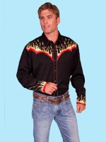ZSold Scully Men's Vintage Western Shirt: Red Hot Notes M-2X SOLD