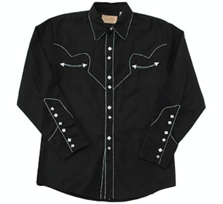 Scully Men S Vintage Western Shirt Classic Black And White