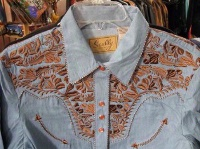 A Scully Ladies' Vintage Western Shirt: The Gunfighter Denim with Rust XS-2XL