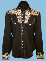 A Scully Ladies' Vintage Western Shirt: The Gunfighter Black with Gold