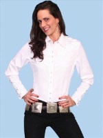 A Scully Ladies' Vintage Western Shirt: The Gunfighter White on White S-2XL
