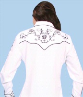 A Scully Ladies' Vintage Western Shirt: Black Roses on White