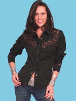 ZSold Scully Ladies' Vintage Western Shirt: Cross Roads Black M SOLD