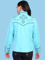 ZSold Scully Ladies' Vintage Western Shirt: Cross Roads Turquoise SOLD