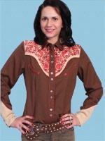 ZSold Scully Ladies' Vintage Western Shirt: Horse, Eagle, Buffalo Brown S-M SOLD