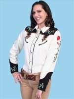 ZSold Scully Ladies' Vintage Western Shirt: Cream with Flowers XS-L SOLD