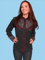 ZSold Scully Ladies' Vintage Western Shirt: Black with Crystal Accents XS SOLD