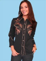ZSold Scully Ladies' Vintage Western Shirt: Dancing Horses on Black SOLD