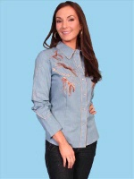 ZSold Scully Ladies' Vintage Western Shirt: Dancing Horses on Denim XS-XL SOLD