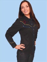 ZSold Scully Ladies' Vintage Western Shirt: Black with Horseheads Trim M SOLD