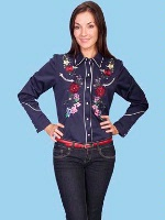 ZSold Scully Ladies' Vintage Western Shirt: Flowers on Navy M SOLD