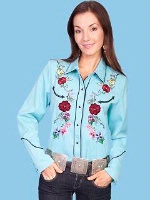 ZSold Scully Ladies' Vintage Western Shirt: Flowers on Turquoise XL SOLD