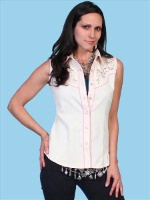 ZSold Scully Ladies' Vintage Western Shirt: Sleeveless Pink Ribbon SOLD