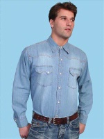 ZSold Scully Men's Western Shirt: Traditional Cotton Denim M, XL SOLD