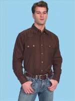 ZSold Scully Men's Western Shirt: Traditional Cotton Dobby Print Brown S-2XL SOLD