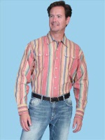 ZSold Scully Men's Western Shirt: Traditional Cotton Stripe Red S-XL SOLD