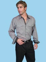 ZSold Scully Men's Western Shirt: Signature Series Dobby Stripe Taupe S-2X SOLD