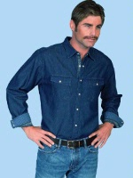 ZSold Scully Men's Western Shirt: Signature Series Cotton Denim Chest Flap Pockets SOLD