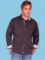 ZSold Scully Men's Lifestyle Collection Shirt: A Solid Tone on Tone Dobby Stripe Contrast Trim Plum S-XL SOLD