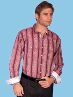 ZSold Scully Men's Western Shirt: Signature Series Dobby Stripe Floral Burgundy M-2X SOLD
