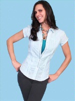 ZSold Scully Ladies' Western Shirt: Ruffle Snap Front Short Sleeve Blue SOLD