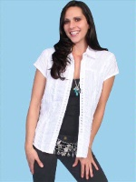 Scully Ladies' Honey Creek Collection Blouse: Ruffle Snap Front Cap Short Sleeve White SALE