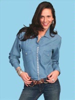 ZSold Scully Ladies' Honey Creek Collection Blouse: Snap Front Blouse Denim Chambray S SOLD