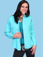 ZSold Scully Ladies' Honey Creek Collection Blouse: Diamond Dobby Tone on Tone Turquoise XS-S SOLD