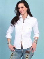 ZSold Scully Ladies' Honey Creek Collection Blouse: Diamond Dobby Tone on Tone White XS-XXL SOLD