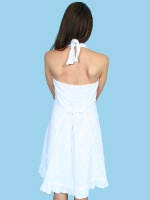 Scully Ladies' Cantina Collection Dress: Halter Style Ruffle Hem White