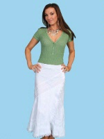 ZSold Scully Ladies' Cantina Collection Skirt: Raw Edge Wrap White S-2XL SOLD
