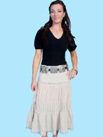 Z SALE Scully Ladies' Cantina Collection Skirt: Raw Edge Ruffle Hemline Khaki M-2XL SALE
