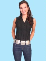 ZSold Scully Ladies' Cantina Collection Blouse: Sleeveless Top Collar Black L SOLD