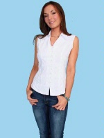 ZSold Scully Ladies' Cantina Collection Blouse: Sleeveless Top Collar White S-2XL SOLD