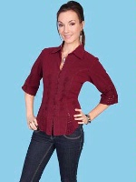 ZSold Scully Ladies' Cantina Collection Blouse: Elbow Sleeve Burgundy S SOLD