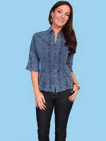 Scully Ladies' Cantina Collection Blouse: Elbow Sleeve Dark Blue