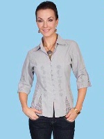 ZSold Scully Ladies' Cantina Collection Blouse: Elbow Sleeve Light Grey SOLD