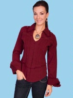 ZSold Scully Ladies' Cantina Collection Shirt: Cross and Cuff Sleeve Burgundy XS-S, L-XL SOLD