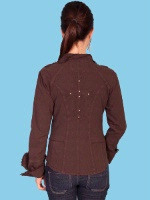 ZSold Scully Ladies' Cantina Collection Shirt: Cross and Cuff Sleeve Chocolate XS-2XL SOLD