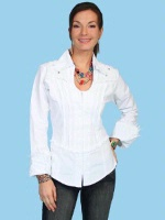 ZSold Scully Ladies' Cantina Collection Shirt: Cross and Cuff Sleeve White XS-2XL SOLD